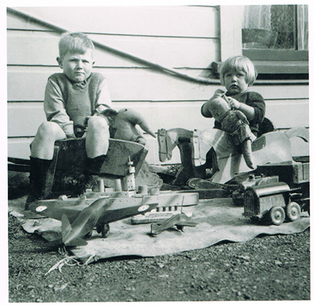 Children with wooden toys
