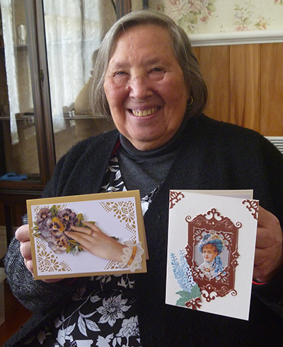 Patricia and her handcrafted cards